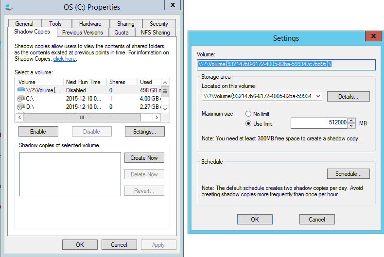 Driver Properties Shadow Copies Limit for Windows Backup